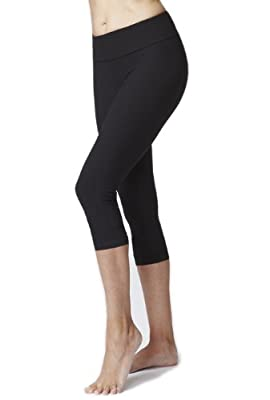 Women's Figure Firming Fold Down Crop Pant/Cropped Leggings Black