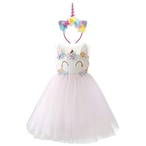 (OBEEII Mädchen Einhorn Kostüm Cosplay Kleid Party Outfit Kostüm Prinzessin Tutu Rock für Festival Performance Geburtstag Karneval Halloween Fotoshooting für Kinder Jugendliche 4-5 Jahre)
