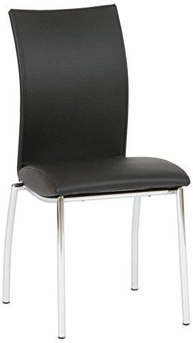 Produktabbildung von Hoffmann der Essplatz 918010 4-er Set Stapelstühle Wave Sitz Lederoptik, schwarz / chrom