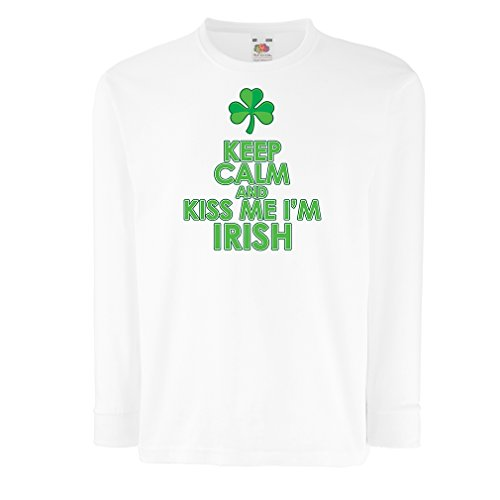 Kinder-T-Shirt mit Langen Ärmeln Kiss me I'm Irish, Saint Patrick Day Jokes Quotes Shirts (9-11 Years Weiß Mehrfarben)