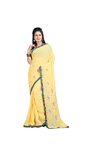 Vipul Women's Branded YELLOW Party Wear Printed Georgette Saree ( Bollywood Designer Saree With Designer Blouse Best Gift For Mummy Mom Wife Girl Friend, Exclusive Offers and Sale Discount 2017 )  available at amazon for Rs.207