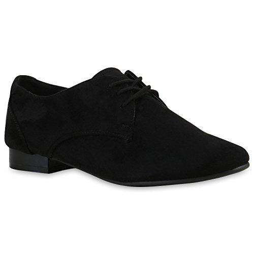 Damen Halb Klassische Schnürer Leder-Optik Velours Basic Glitzer Spitze Schleifen Details Flache Schuhe 123364 Schwarz 36 Flandell