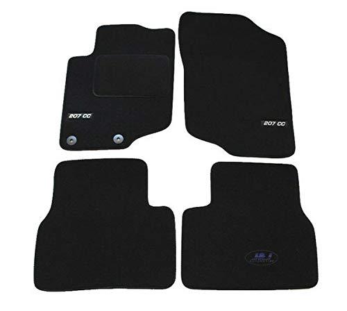 J&J AUTOMOTIVE | Logo Tapis DE Sol Noir Velours Compatible avec Peugeot 207 CC 2007- prés