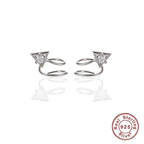 MATBC Kreative minimalistische dreieck funkelnden kristall zirkon frühling spirale doppel ohrring S925 Sterling Silber Ohrringe schmuck (Doppel-spirale-ohrring)