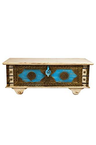 Orientalische Truhe Kiste aus Holz Murali 115cm groß in Weiß | Vintage Sitzbank mit Aufbewahrung...