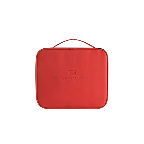 Velliceasay Erweiterte Aufbewahrungstasche Makeup Bag Home travel Convenient Portable Storage Bag Large Capacity Cosmetic Storage Box, red Saubere, luftige Lagerung