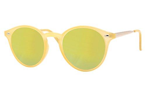 a094f6f517 Cheapass Gafas de sol Redondas Amarillas Espejadas Verde Lima UV400 Hipster  Festival.