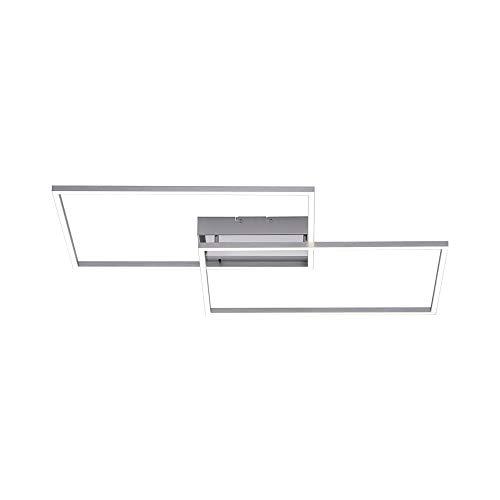 LED Deckenleuchte, 75x56, IP 20, dimmbar mit Fernbedienung, Decken-Lampe, Farbtemperatursteuerung, warmweiß - kaltweiß, Stahl-Design