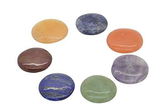 Edelstein SET mit 7 Chakra Steinen (rund) in Samtbeutel