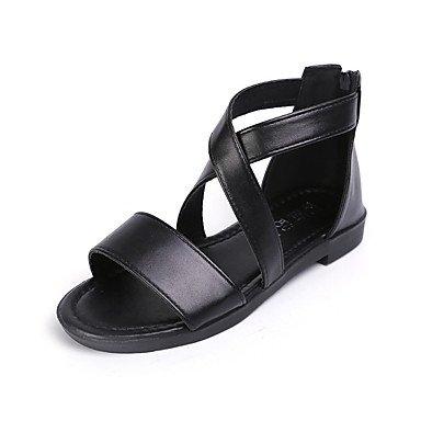 LvYuan Damen-Sandalen-Outddor Kleid Lässig-PU-Niedriger Absatz-Komfort-Schwarz Weiß Black