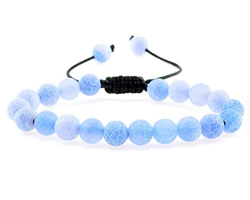 Perlen-Armband | Größenverstellbar | Wasserfest | Hautverträglich | Surfer-Style | Made in Germany | Mode-Schmuck | Fashion Accessoire | Hand-Made | Klassisches Edel-Stein Design | (Achat Blau)