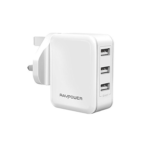 USB Charger Plug RAVPower 30W 6A 3-Port Mains Wall Charger with iSmart 2.0 (UK Travel Adapter, Fast and Safe) for iPhone, iPad, Samsung Galaxy, Huawei, LG, Sony, Android Smartphones Tablet and Power Bank - White