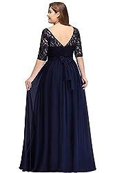 Misshow Damen Übergröße Abendkleid Spitze Chiffon mit Ärmel Elegant Lang Ballkleid , Blau, 48