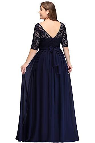 Misshow Damen Übergröße Abendkleid Spitze Chiffon mit Ärmel Elegant Lang Ballkleid , Blau, 56