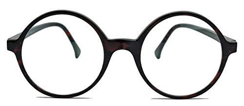 Runde Fashion Brille Damen Herren Nerdbrille Hornbrille Streberbrille Klarglas L (Braun)