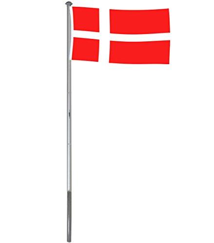 Brubaker Aluminium Fahnenmast Flaggenmast 4 m Inklusive Deutschland Flagge + Dänemark Flagge 150 x 90 cm und Bodenhülse