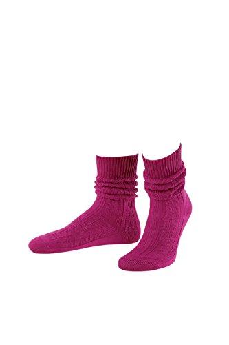 Hochwertige Trachtensocken kurz mit Zopfmuster 3 verschiedene Farben Gr. 36-47 (36-38, pink)