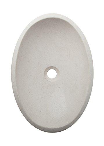 Yuchengstone Grand lavabo Coque en grès, Forme Ovale, Couleur : Beige, élégant Mur extérieur de Belles Rohen Structures, Pièce Unique, Dimensions L50 cm, b34,6 cm, h12,5 cm, Poids : env. 11 kg