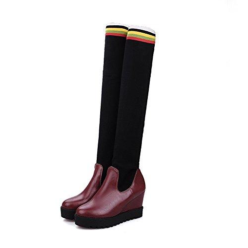 VogueZone009 Damen Ziehen Auf Hoher Absatz Blend-Materialien Gemischte Farbe Stiefel Weinrot