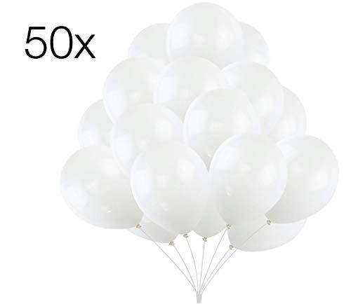 ler 50x Luftballons Ø 35 cm Luftballon Ballons Balloons Luftballon Ballon weiß Weiss Latexballons für Helium & Luft - Dekoration Hochzeit Hochzeitsdeko (weiß) ()