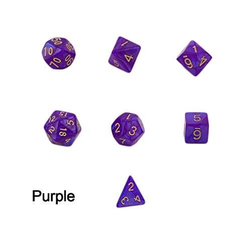 DINGWEN D4-D20 Polyhedral-DND RPG MTG Game Dungeons & Dragons Würfel zufällige Farbe, violett