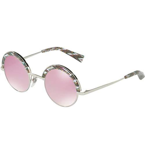 Alain mikli occhiali da sole, modello 0a04003n colore 005/7v, montatura in metallo color argento, lente tonda rosa con comodi naselli stile donna