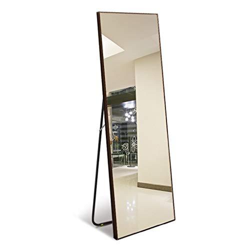 Massivholz Ganzkörperspiegel Home An der Wand befestigter Kosmetikspiegel Bekleidungsgeschäft mit Halterung Passender Spiegel 50 * 150 cm Standspiegel 0624 (Color : Walnut) -