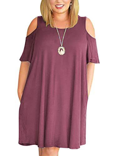 Nemidor Damen Kalte Schulter plus Gr en-beil ufiges T-Shirt Swing-Kleid mit Taschen 14W Lila - Kalte Schulter Kleid