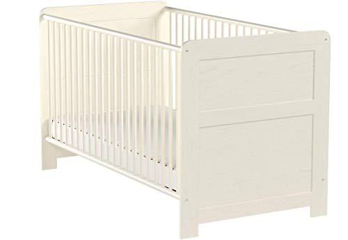 trendteam smart living Babyzimmer Babybett Kinderbett Landi, 76 x 84 x 144 cm in Pinie Weiß Struktur, Absetzung Pinie Dunkel (Nb.) im Landhausstil