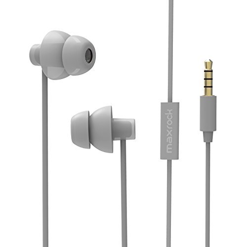 MAXROCK (TM) Unique Total Soft Silicon Super Comfortable Sleeping Headphones Earplugs Earbuds with Mic for Cellphones,Tablets and 3.5 mm Jack Plug (Grey)