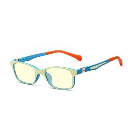 Kinder Anti-blau Gläser Strahlung Computer Mobile Goggles Baby Anti-Myopie Spiel Flach Spiegel Hautfreundliche Material (Farbe : Blau)