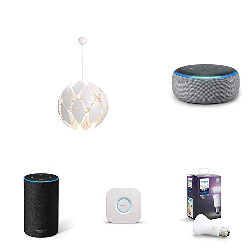 Echo Dot gris oscuro + Philips Smart Volume Chiffon - Lámpara colgante blanca 60cms + Philips Hue White and Color Ambiance - Bombilla LED E27 individual, 9,5 W + Philips Hue - Puente de conexión (iluminación inteligente - controlable vía WiFi, compatible con Apple Homekit y Google Home)