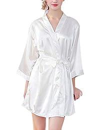 Fansu Kimono Albornoz De Seda Ropa, Mujer Bata Novia Casa De Estilo Saten Batas Cortos