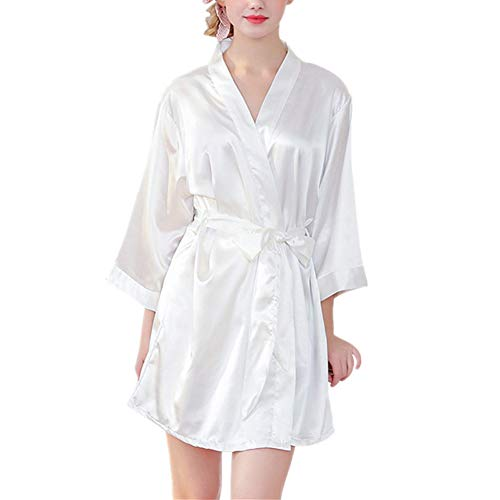 Fansu Kimono Albornoz De Seda Ropa, Mujer Bata Novia Casa De Estilo Saten Batas Cortos Dormir Albornoz de Dama de Honor Pijamas de Noche (L,Blanco)