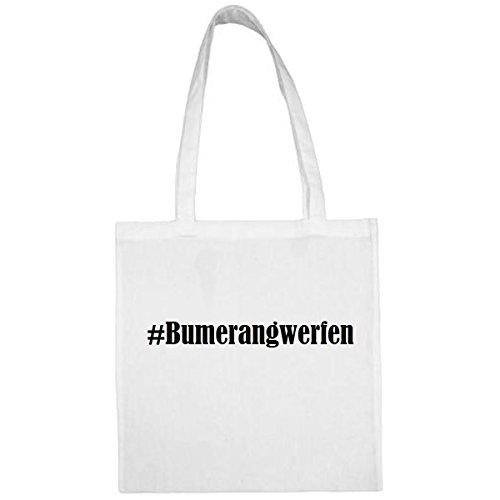 """Tasche""""#Bumerangwerfen""""Größe""""38x42""""Farbe""""Weiss""""Druck""""Schwarz"""
