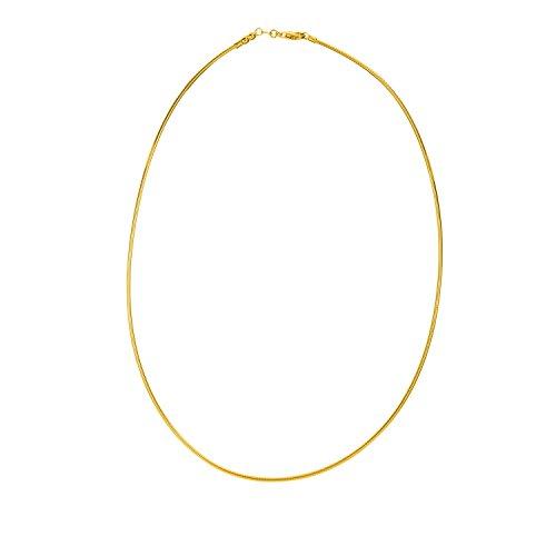 Halskette Omega 14k Gold Gelb (14K Solid Gelb Gold Runde Omega Kette Halskette 1,5mm dick 50,8cm)