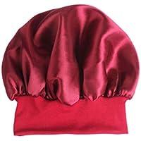 Healifty Sleep Night Cap Banda Ancha de satén Bonnet Night Head Cover Turbantes de Cabello Suave para Las Mujeres Belleza del Cabello Capa para el Cuidado del Cabello Quimioterapia (Rojo) 56-58 CM