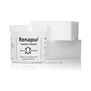 Renapur Leather Balsam 200ml plus 2 x Application Sponges - Natural Conditioner and Restorer. Suitable For All Smooth and Semi-Aniline Leather Sofas, Shoes, Bags, Car Seats, Saddlery etc.