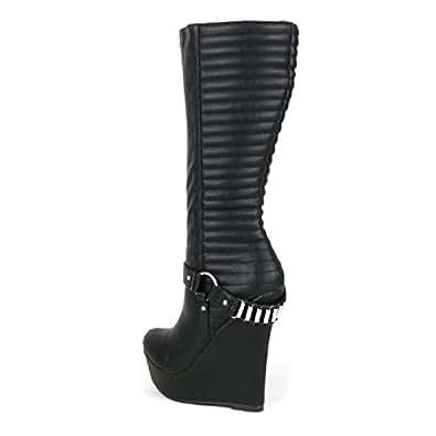 designer fashion 49b80 f1b9e Onlymaker Damenschuhe High Heels Wedge Plateau Knie Hoch Stiefel