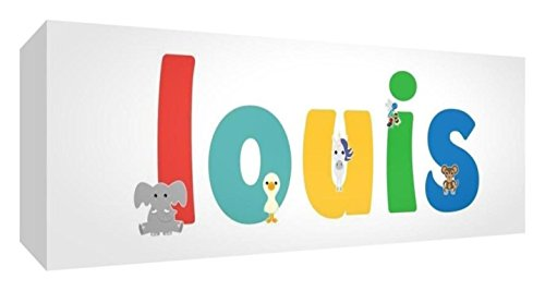 Little Helper Toile Boîte Galerie Enveloppé avec Panneau Avant Style Illustratif Coloré avec le Nom de Jeune Garçon Louis 15 x 42 x 3 cm Petit