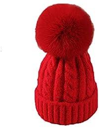 Sombreros y gorras XUERUI Sombrero Señoras niñas de Punto Pompom Invierno  cálido Gorro Sombrero Espesar Forro 165b219fd46