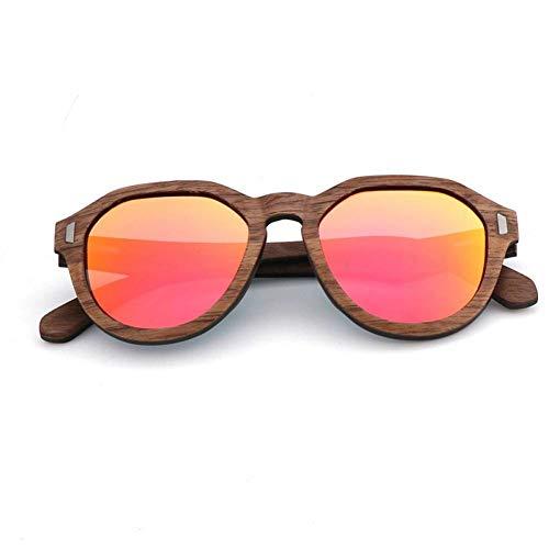 GAOHAITAO Mode übergroßen Holz polarisierten Sonnenbrillen für Männer/Frauen% handgefertigte Holzrahmen,Rosa Linse,Nur Sonnenbrillen