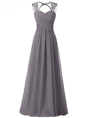 PRTS A-Linie Chiffon Brautjungfernkleider Lang Spitze Ballkleid Abendkleid Festkleid Partykleid Grau...