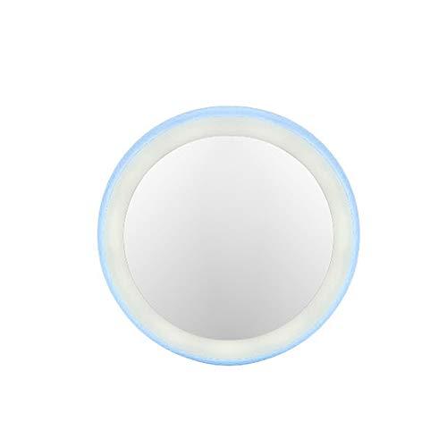 RIsxffp Kosmetikspiegel, wiederaufladbar, Mini-Make-up, rund, mit 12 LEDs with Battery blau