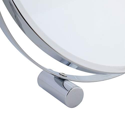 axentia 3-fach Vergrößerungs-Standspiegel in Silber, rostfreier Badezimmerspiegel verchromt, runder Kosmetikspiegel im Durchschnitt ca. 17 cm - 5
