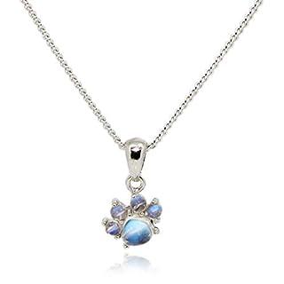 Luna Azure Echt Mondstein 925 Sterling Silber Katzenpfote süße mini Anhänger Halskette 18