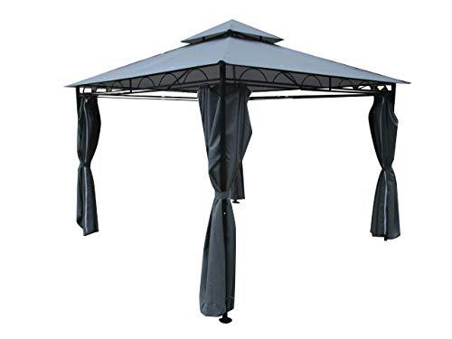 ASS Eleganter Garten - Pavillon 3x3 Meter, Dach 100% WASSERDICHT UV30+, 9m², mit 4 Vorhängen quadratisch anthrazit Modell: 7075-3x3 von