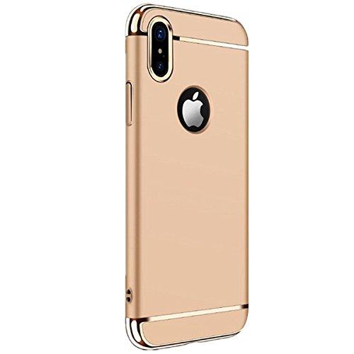 iPhone X Custodia,Cover iPhone X, Case iPhone X 3 in 1 custodia rigida ultra sottile 360 gradi Full Body Protezione Anti-Scratch Copertura Ultra sottile Shockproof Case (Oro rosa) dorato