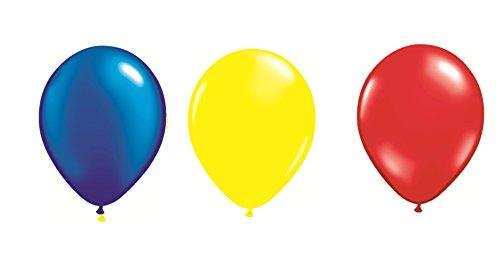 DeCoArt... Set Preis Deko Rumänien 30 Luftballons je 10x blau, gelb und rot ca. 28 cm Latexballon, 30 Ballonverschlüsse BV10 weiß und EIN weißes Aufblasventil sowie Infoblatt (Und Blaue Gelbe Luftballons)