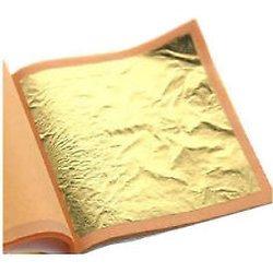 100Blatt Blattgold, 24Karat, 100{4eac62a4e8bf6eaf9a70e99df1b92b7ab58993593aac9b97fdb303aa5b670946} echt, Größe 70mm x 70mm